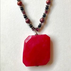 Jewelry - Natural rough ruby necklace